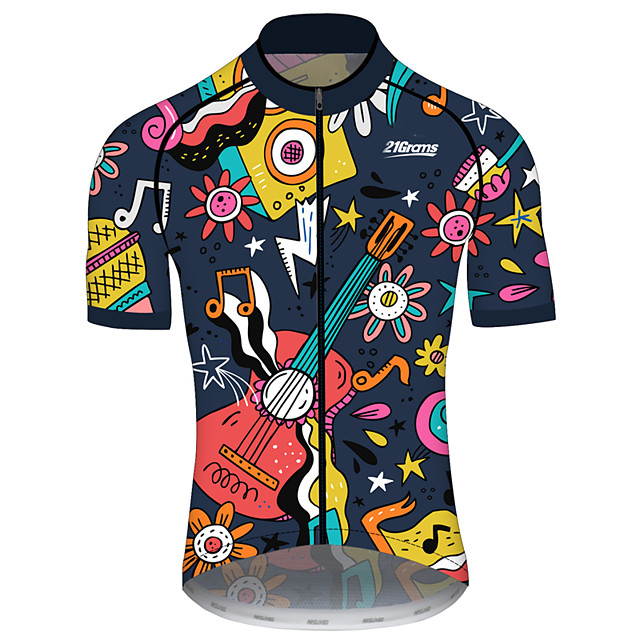 21Grams Men's Women's Short Sleeve Cycling Jersey Spandex Polyester Black / Yellow Funny Bike Jersey Top Mountain Bike MTB Road Bike Cycling UV Resistant Breathable Quick Dry Sports Clothing Apparel