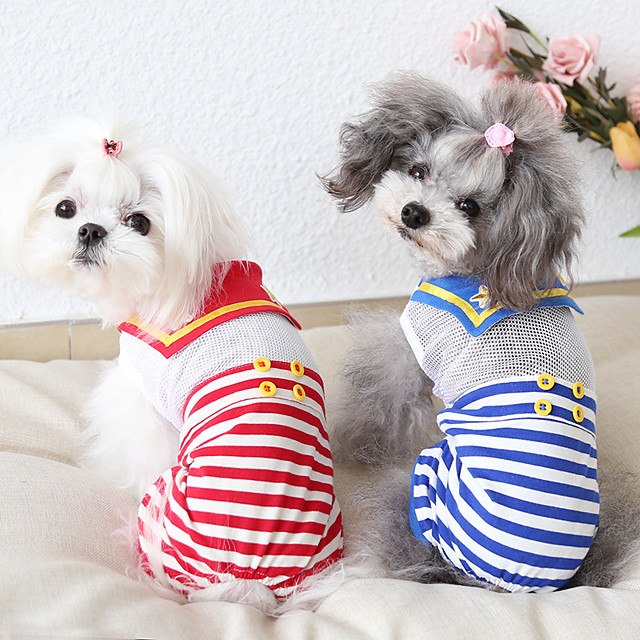 Dog Costume Jumpsuit Dog Clothes Breathable Red Blue Costume Beagle Bichon Frise Chihuahua Cotton Voiles & Sheers Stripes Casual / Sporty Cute XS S M L XL