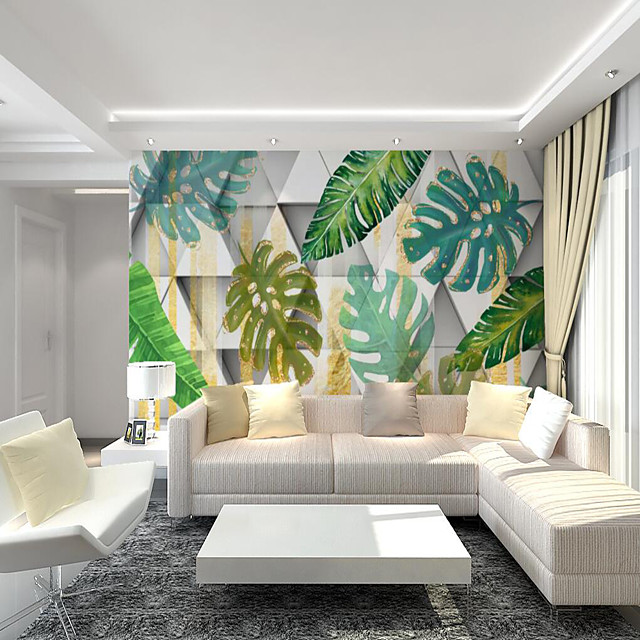 Custom Self-adhesive Mural Wallpaper Fresh Leaves Suitable For Bedroom Living Room Coffee Shop  Restaurant Hotel Wall Decoration Art Art Deco