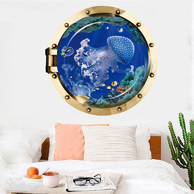 Jellyfish Wall Sticker Multicolor Flat Removable Underwater World 3D PVC Wallpaper Home Decorations