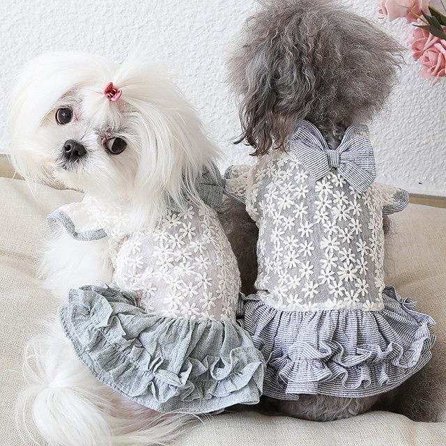 Dog Costume Dress Dog Clothes Breathable Green Gray Costume Beagle Bichon Frise Chihuahua Fabric Bowknot Embroidered Flower Casual / Sporty Cute XS S M L XL