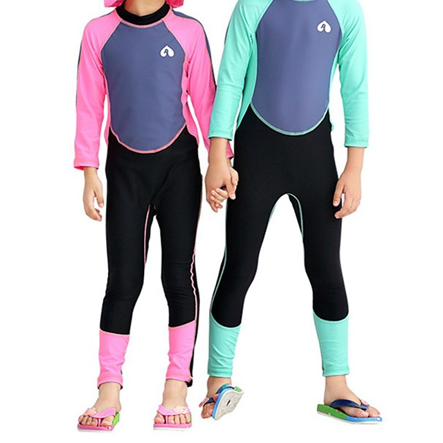 Boys' Girls' Rash Guard Dive Skin Suit Top Bottoms UV Sun Protection Breathable Full Body Swimming Diving Water Sports Patchwork Spring Summer / Kid's