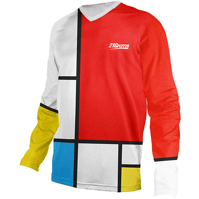21Grams Men's Long Sleeve Cycling Jersey Downhill Jersey Dirt Bike Jersey Red / White Plaid / Checkered Stripes Bike Jersey Top Mountain Bike MTB Road Bike Cycling UV Resistant Breathable Quick Dry