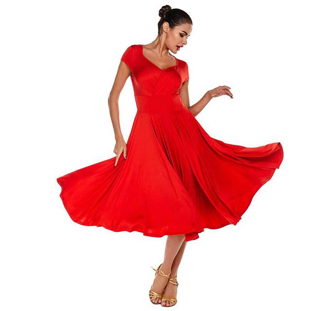 Women's Dancer Latin Dance Masquerade Costumes Polyster Red Black Dress