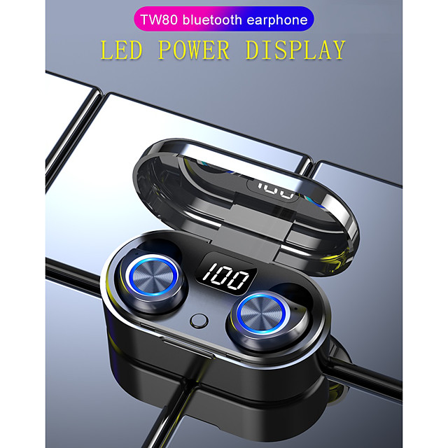 LITBest TW80 TWS True Wireless Earbuds Wireless Bluetooth 5.0 Stereo with Microphone with Volume Control HIFI Auto Pairing for Mobile Phone