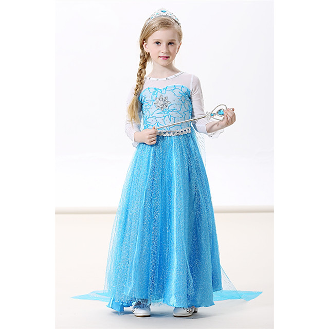 Princess Elsa Dress Cosplay Costume Masquerade Girls' Movie Cosplay A-Line Slip Cosplay Halloween Green / Blue / Blue (With Accessories) Dress Halloween Carnival Masquerade Flannel