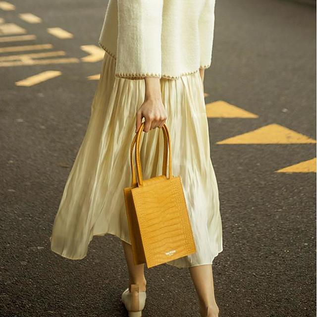 Women's Zipper PU Top Handle Bag Crocodile Yellow / Blue / Black