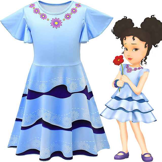Fancy Nancy Dress Cosplay Costume Girls' Movie Cosplay Cosplay Costume Party Blue Dress Polyster