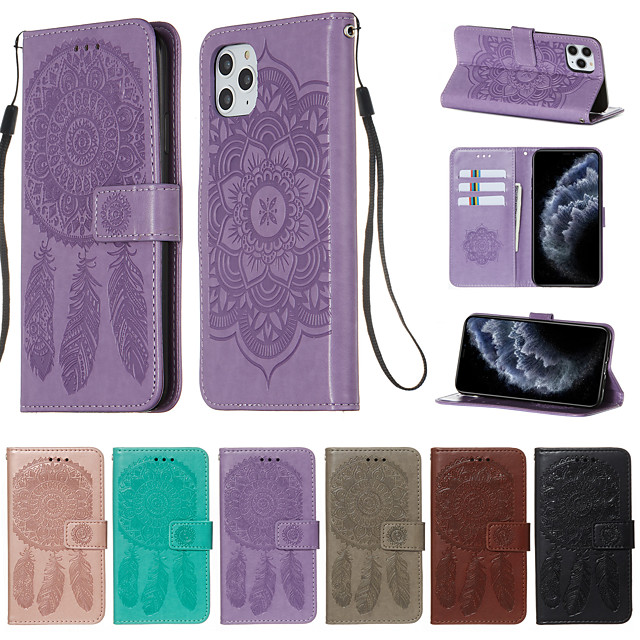 Case for Apple scene map iPhone 11 11 Pro 11 Pro Max X XS XR XS Max 8 Dream catcher pattern embossed embossed PU leather card holder lanyard all-inclusive drop-resistant mobile phone case YB