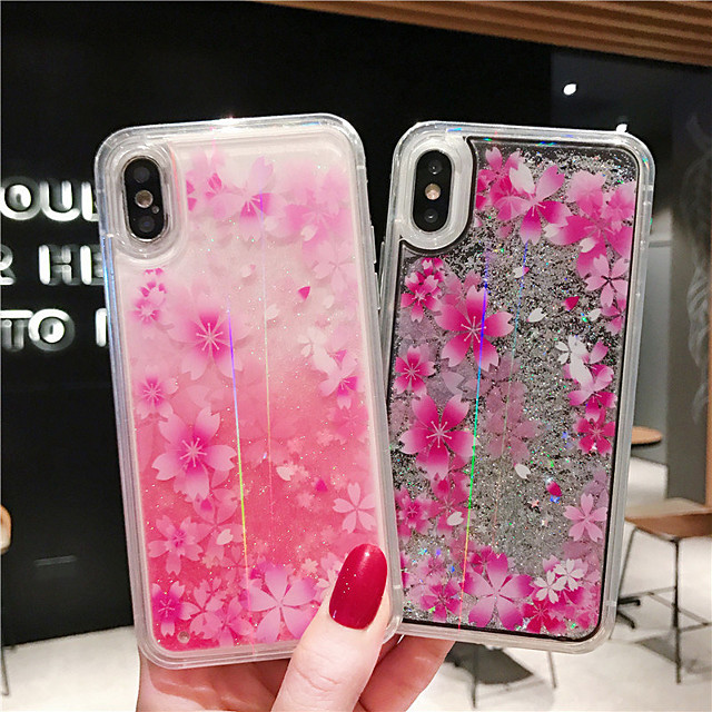 Case For Apple iPhone XS / iPhone XR / iPhone XS Max Shockproof / Flowing Liquid / Pattern Back Cover Glitter Shine / Flower PC
