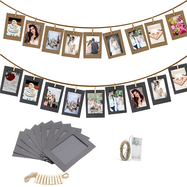 10PCS DIY Photo Frame Wooden Clip Paper Picture Holder Wall Decoration For Wedding Graduation Party Photo Booth Props with 30 Led Light String