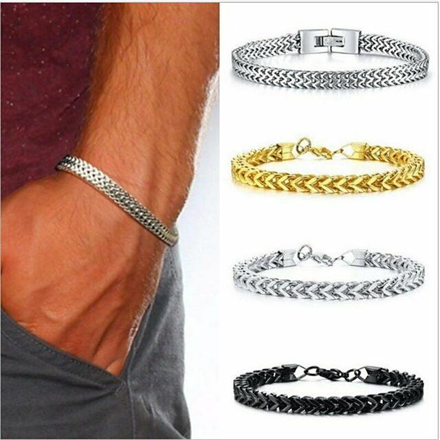 Chain Bracelet Thick Chain Love Simple Trendy Alloy Bracelet Jewelry Gold / Silver / Black For Sport Gift Formal Birthday Festival