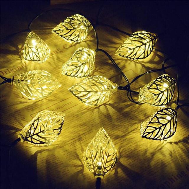 LED Lanterns Iron Art Scattered Leaf Lights String Christmas Window Wedding Decoration