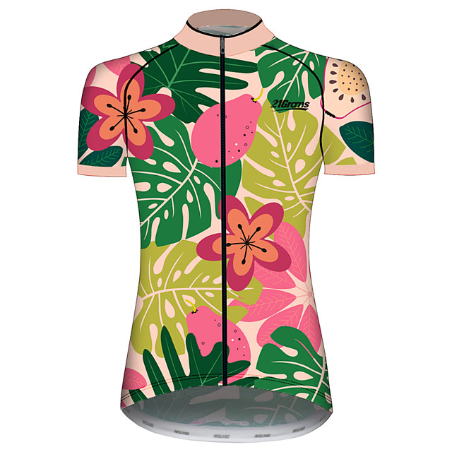 21Grams Women's Short Sleeve Cycling Jersey Pink+Green Leaf Floral Botanical Fruit Bike Jersey Top Mountain Bike MTB Road Bike Cycling UV Resistant Breathable Quick Dry Sports Clothing Apparel
