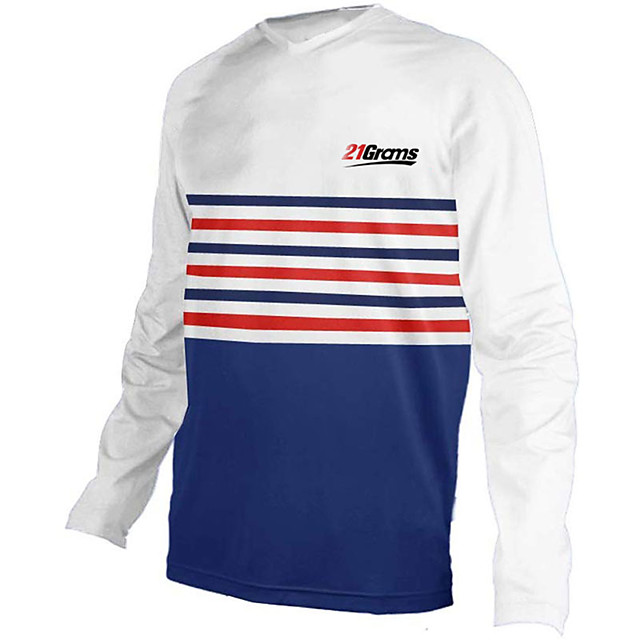 21Grams Men's Long Sleeve Cycling Jersey Downhill Jersey Dirt Bike Jersey Polyester Spandex Blue / White Stripes Bike Jersey Top Mountain Bike MTB Road Bike Cycling UV Resistant Breathable Quick Dry