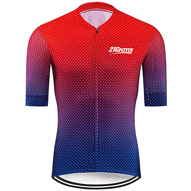 21Grams Men's Short Sleeve Cycling Jersey Red+Blue Polka Dot Gradient Bike Jersey Top Mountain Bike MTB Road Bike Cycling UV Resistant Breathable Quick Dry Sports Clothing Apparel / Stretchy
