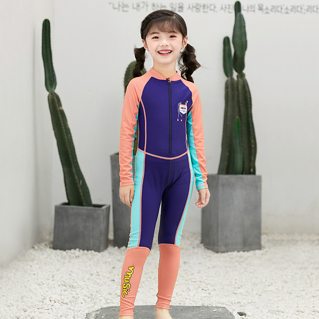 Girls' Rash Guard Dive Skin Suit Elastane Swimwear Bodysuit UV Sun Protection Breathable Quick Dry Long Sleeve Front Zip - Swimming Water Sports Patchwork Summer / High Elasticity / Kid's