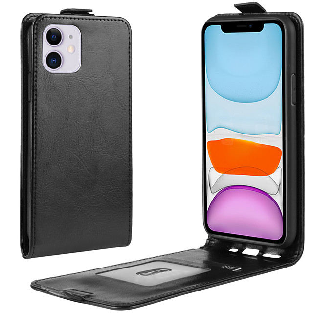 Case For Apple iPhone 11 / iPhone 11 Pro / iPhone 11 Pro Max Wallet / Card Holder / Flip Full Body Cases Solid Colored PU Leather / TPU