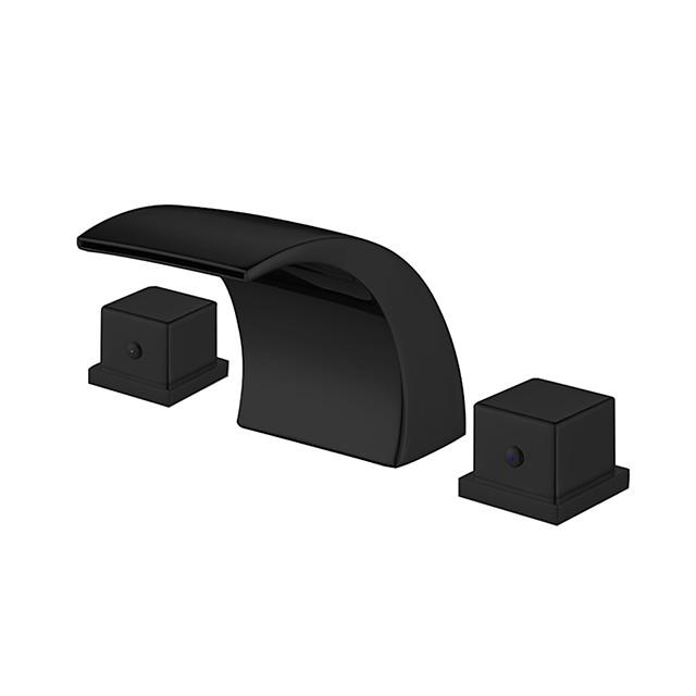 Bathroom Sink Faucet - Widespread Black Waterfall Basin Sink Mixer Tap Dual Handles Washroom Faucet