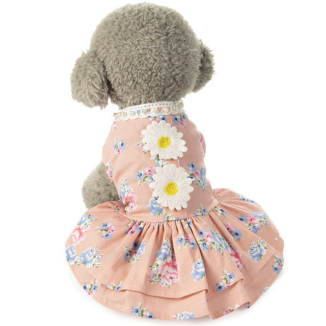 Dog Costume Dress Dog Clothes Breathable Pink Gray Costume Beagle Bichon Frise Chihuahua Cotton Lace Flower Party Cute XS S M L XL