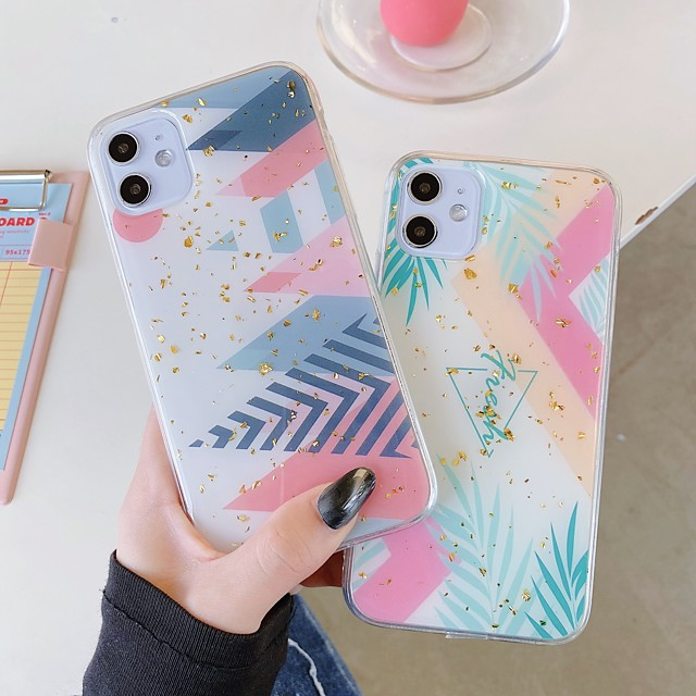 Case For Apple iPhone 11 11 Pro 11 Pro Max New Green leaf pattern glitter powder epoxy glue ring bracket thickened TPU all-inclusive mobile phone case