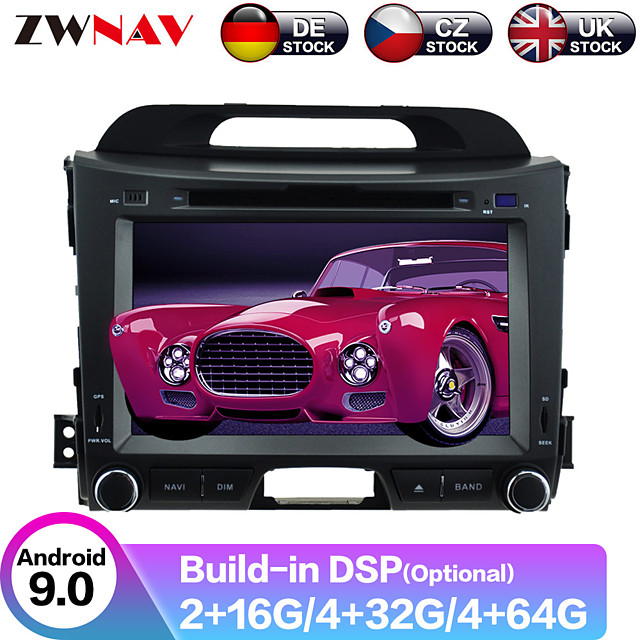 ZWNAV 9inch 2din Android 9.0 PX6/PX5 Car DVD Player Car GPS navigation Car multimedia player radio tape recorder stereo For KIA SPORTAGE 2010