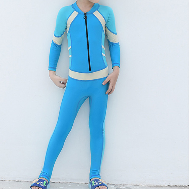 Boys' Girls' Rash Guard Dive Skin Suit Diving Suit UV Sun Protection Anatomic Design Full Body 2-Piece Front Zip 3-Piece - Diving Water Sports Patchwork Summer / Micro-elastic / Kid's