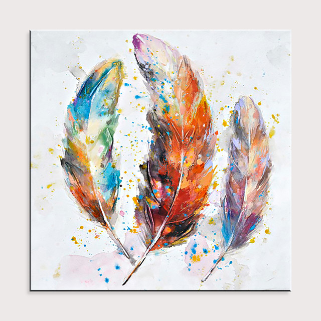 Hand Painted Colorful Feather Theme Art Wall Decoration Large Oil Painting Wall Painting Modern Art Home Decoration