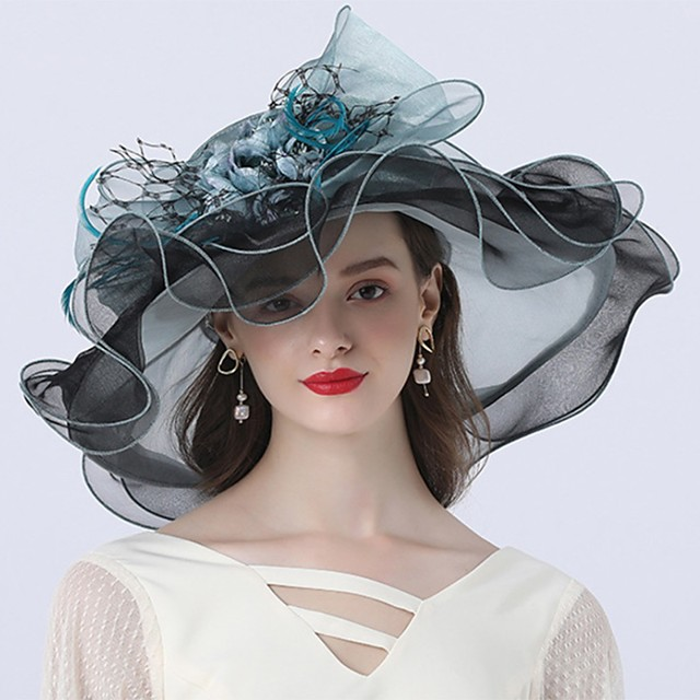 Vintage Style Fashion Tulle / Organza Hats / Headwear with Bowknot / Flower / Trim 1 Piece Wedding / Outdoor Headpiece