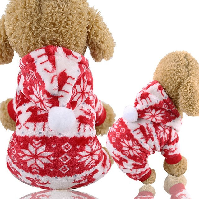 Dog Cat Jumpsuit Winter Dog Clothes Red Costume Husky Corgi Beagle Polyester Snowflake Casual / Daily Simple Style XS S M L XL XXL
