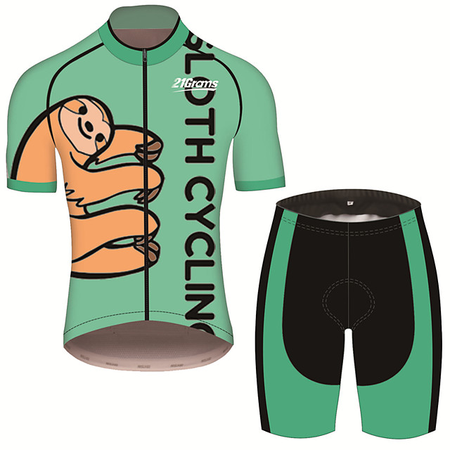 21Grams Men's Short Sleeve Cycling Jersey with Shorts Black / Green Animal Sloth Bike Clothing Suit UV Resistant Breathable 3D Pad Quick Dry Sweat-wicking Sports Animal Mountain Bike MTB Road Bike
