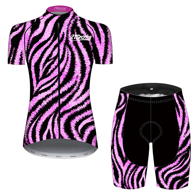 21Grams Women's Short Sleeve Cycling Jersey with Shorts Purple Stripes Bike Clothing Suit Breathable 3D Pad Quick Dry Ultraviolet Resistant Sweat-wicking Sports Solid Color Mountain Bike MTB Road