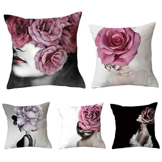 5 pcs Throw Pillow Simple Classic 45*45 cm Cushion Vintage Circle Cover Sofa Home Decor Throw Pillow Case