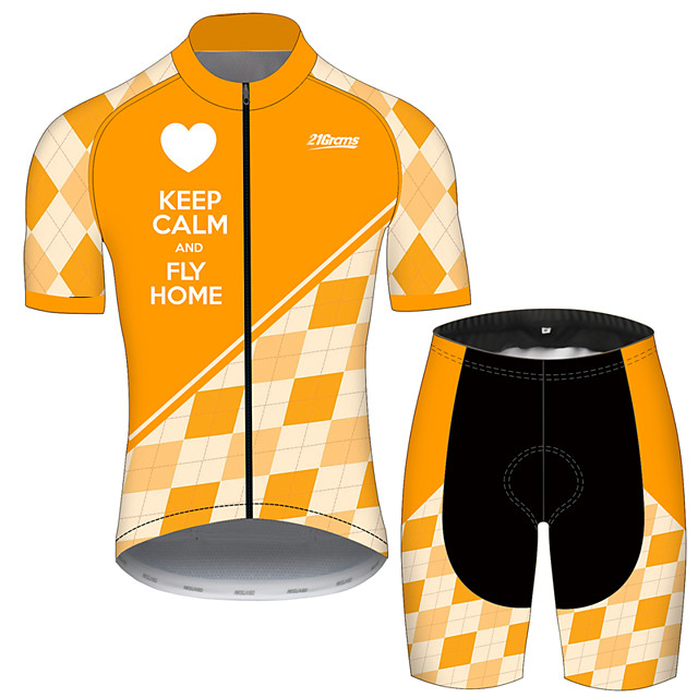 21Grams Men's Short Sleeve Cycling Jersey with Shorts Orange+White Plaid / Checkered Heart Bike Clothing Suit UV Resistant Breathable 3D Pad Quick Dry Sweat-wicking Sports Plaid / Checkered Mountain