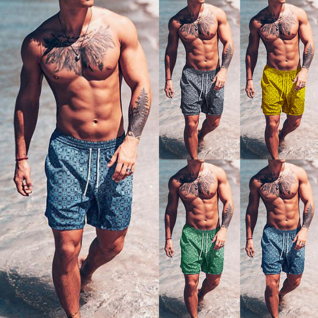 Men's Swim Shorts Swim Trunks Bottoms Breathable Quick Dry Drawstring - Swimming Beach Water Sports Summer / Micro-elastic