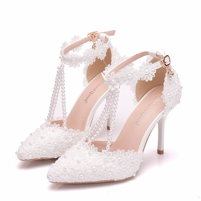 Women's Wedding Shoes Spring / Summer / Fall Ankle Strap Heel Pointed Toe Business Minimalism Wedding Party & Evening Pearl / Flower Solid Colored PU Walking Shoes White