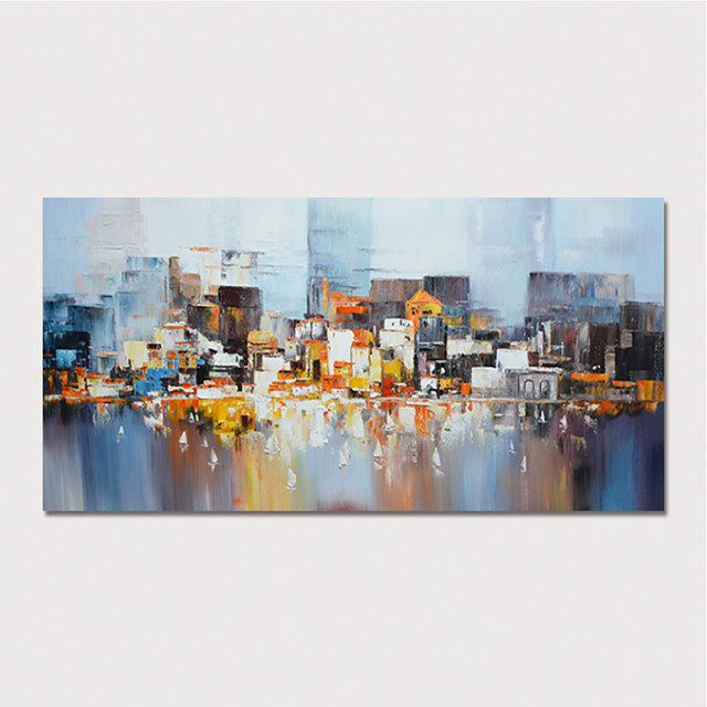 Hand Painted Canvas Oilpainting Abstract Buildings by Knife Home Decoration with Frame Painting Ready to Hang