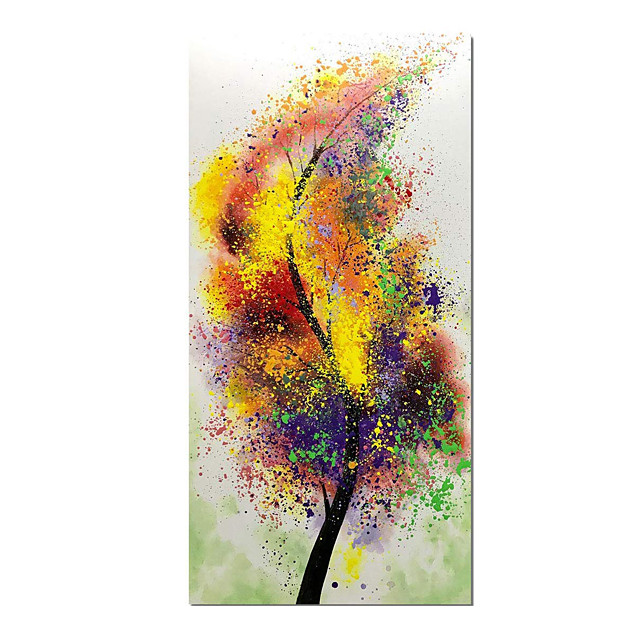 Hand-Painted Lucky Colorful Tree Oil Paintings Wall Art Abstract Painting Contemporary Artwork for Home Decor Ready to Hang