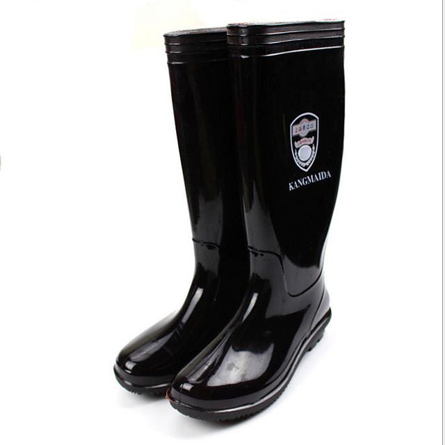 Women's Boots Flat Heel Round Toe PVC Mid-Calf Boots Spring & Summer / Fall & Winter Black