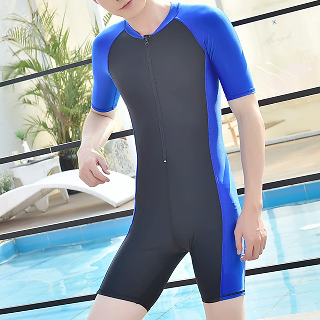 Men's Rash Guard Dive Skin Suit Bodysuit UV Sun Protection Breathable Short Sleeve Front Zip - Swimming Diving Water Sports Patchwork Autumn / Fall Spring Summer