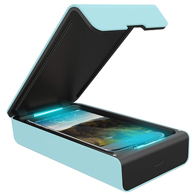 Multifunctional Disinfection Box Portable Violet Light Color Mobile Phone Disinfection Box blue 1pc