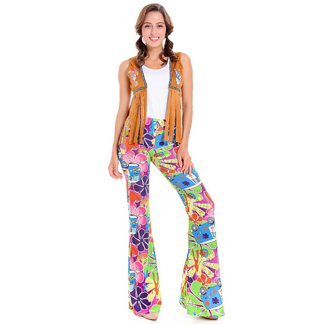 Hippie Diva Disco 1980s Pants Outfits Vest T-shirt Women's Costume Rainbow Vintage Cosplay Party Short Sleeve