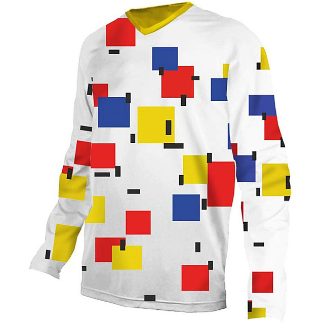 21Grams Men's Long Sleeve Cycling Jersey Downhill Jersey Dirt Bike Jersey Polyester Spandex Red and White Plaid / Checkered Bike Jersey Top Mountain Bike MTB Road Bike Cycling UV Resistant Breathable