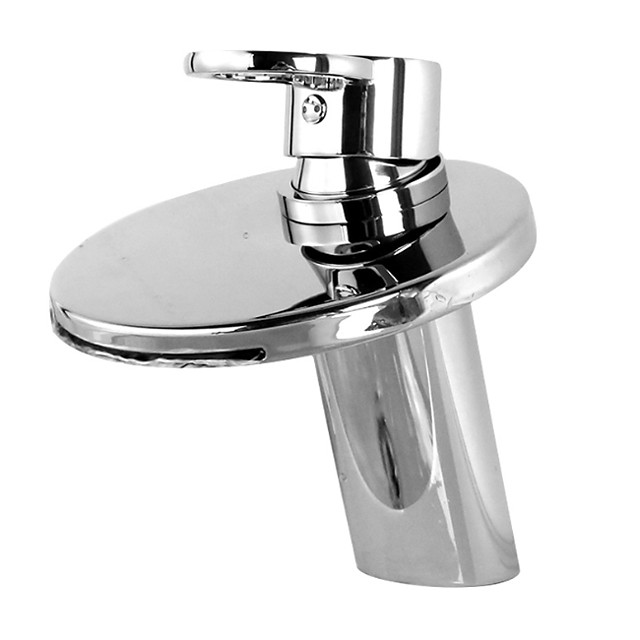 Bathroom Sink Faucet - Waterfall Electroplated Centerset Single Handle One HoleBath Taps