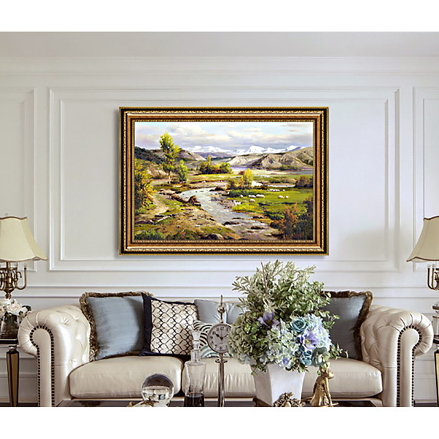 Framed Art Print Western Classic Landscape Paintings Silent Songs Sofa Setting Wall Dining-Room Sitting Room Hangs A Picture