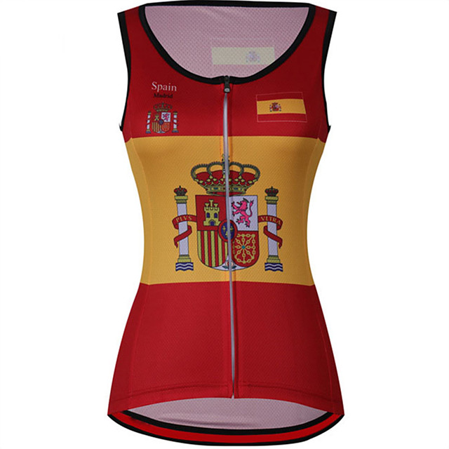 21Grams Women's Sleeveless Cycling Jersey Cycling Vest Red / Yellow Spain National Flag Bike Jersey Top Mountain Bike MTB Road Bike Cycling UV Resistant Breathable Quick Dry Sports Clothing Apparel