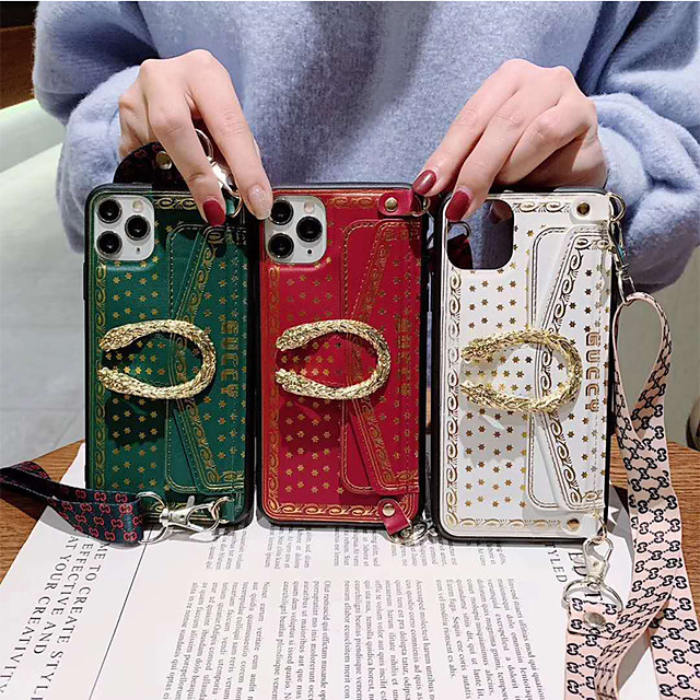 iPhone11Pro Max Cool Bronzing Card Case Wallet Case XS Max can be Diagonally Equipped With Lanyard 6/7 / 8Plus Protective Case