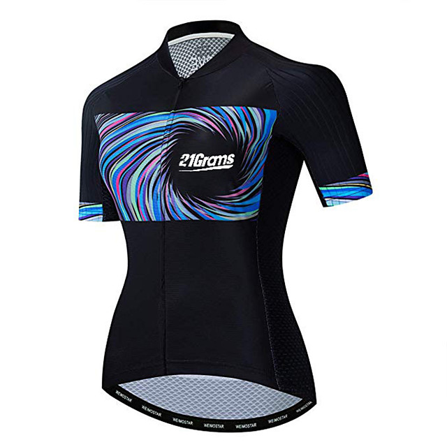21Grams Women's Short Sleeve Cycling Jersey Black / Blue Bike Jersey Top Mountain Bike MTB Road Bike Cycling UV Resistant Breathable Quick Dry Sports Clothing Apparel / Stretchy / Race Fit