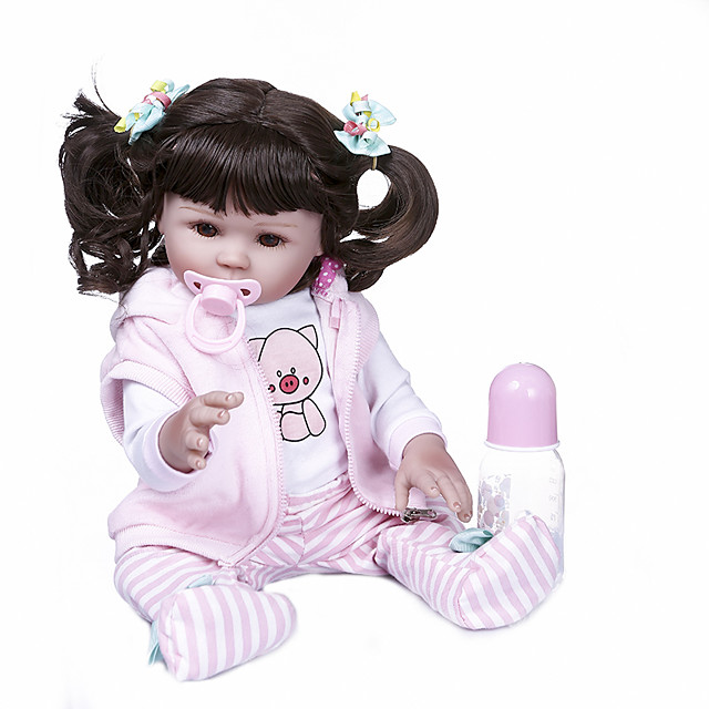 NPKCOLLECTION 20 inch Reborn Doll Baby Baby Girl Newborn Hand Made Artificial Implantation Brown Eyes Full Body Silicone Silicone Silica Gel with Clothes and Accessories for Girls' Birthday and