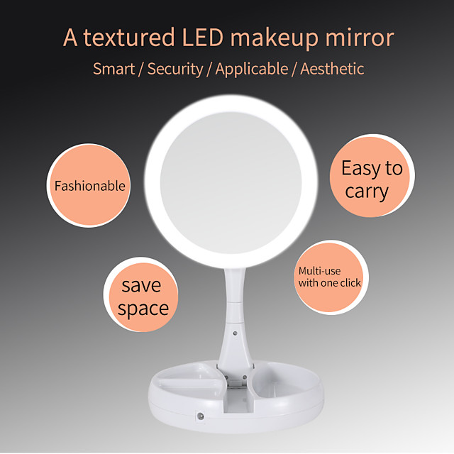 Portable LED Lighted Makeup Mirror Vanity Compact Make Up Pocket Mirrors 10X Magnifying Glasses Makeup Cosmetic Hand Mirror